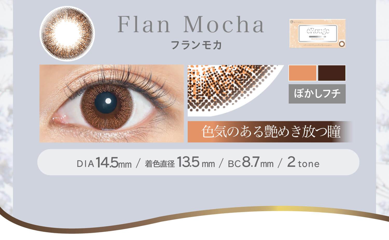 大屋夏南イメージモデル エルージュ -eRouge|フランモカ Flan Mocha ぼかしフチ 色気のある艶めき放つ瞳  DIA14.5mm BC8.7mm 着色直径13.5mm 2tone