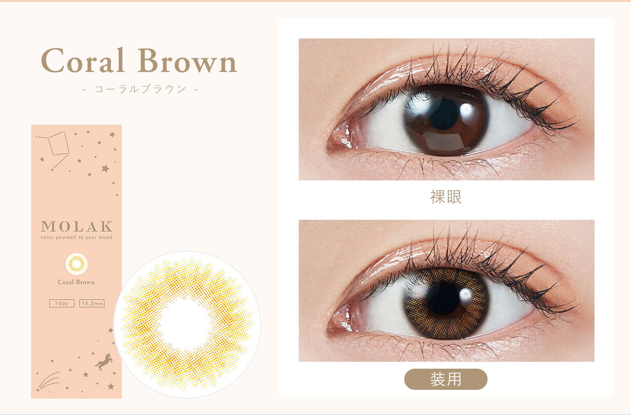Coral Brown - コーラルブラウン - Produced by Sakura Miyawaki MOLAK color youreself to your mood 1 day 14.2mm 装用 裸眼