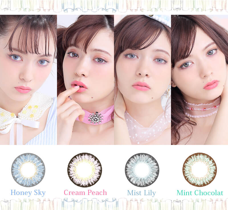 八木アリサイメージモデルカラコン Motecon Lady or Girl × ECONECO-モテコンレディオアガール × ECONECO|Honey Sky/Cream Peach/Mist Lily/Mint Chocolat
